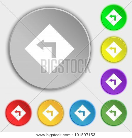Road Sign Warning Of Dangerous Left Curve Icon Sign. Symbols On Eight Flat Buttons. Vector