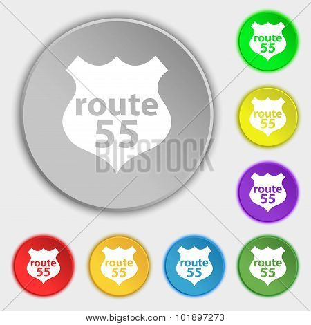 Route 55 Highway Icon Sign. Symbols On Eight Flat Buttons. Vector