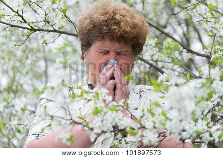 Woman With Allergic Rhinitis In  Spring Garden