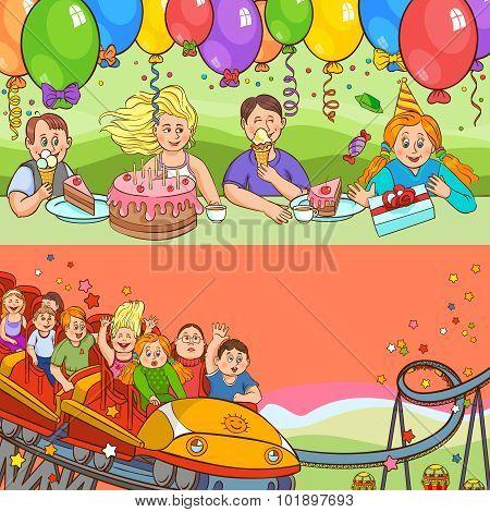 Child Birthday Cartoon Banner Set