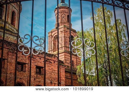 The ruins of the old Orthodox Church of red brick.