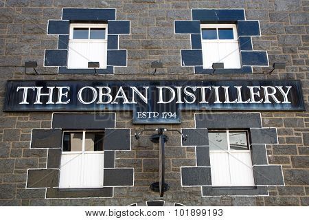 OBAN, SCOTLAND - JULY 29th 2015: Front facade and signage for the Oban Distillery. One of the oldest whiskey distilleries in Scotland and famous for Oban SIngle Malt since 1794. Scotland,  UK.