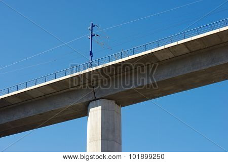 view of a high-speed viaduct in Zaragoza Province, Aragon, Spain. AVE Madrid Barcelona.