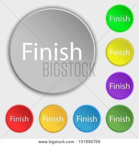Finish Sign Icon. Power Button. Symbols On Eight Flat Buttons. Vector