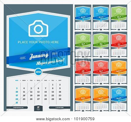 Wall Monthly Calendar For 2016 Year. Vector Design Print Template With Place For Photo And Pattern B