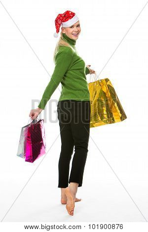 Woman Doing Shopping For Christmas.