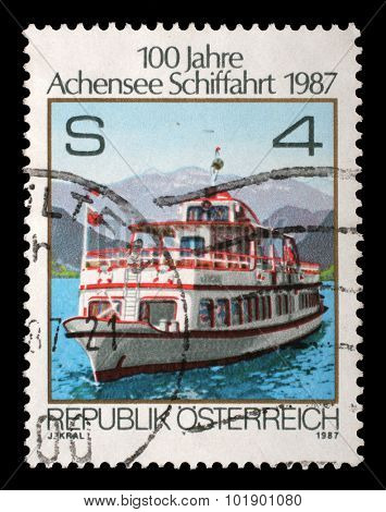 AUSTRIA - CIRCA 1987: stamp printed by Austria, shows Shipping on Achensee, circa 1987