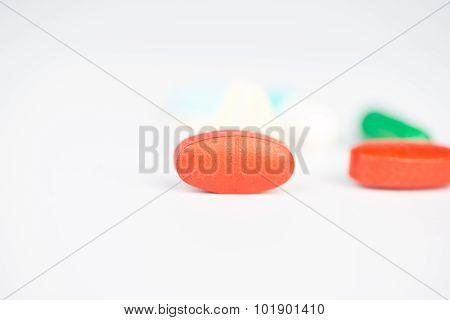 Medicine Tablet On White Background