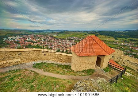 Aerial View From Rupea Medieval Fortress In Transylvania.