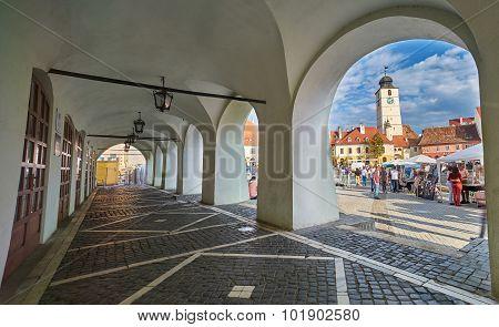 Arcade View Of Small Square In Sibiu