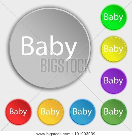 Baby On Board Sign Icon. Infant In Car Caution Symbol. Baby-pacifier Nipple. Symbols On Eight Flat B