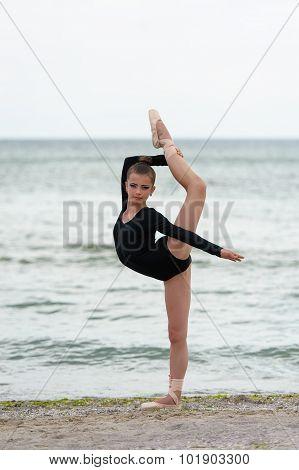 Girl gymnast in black
