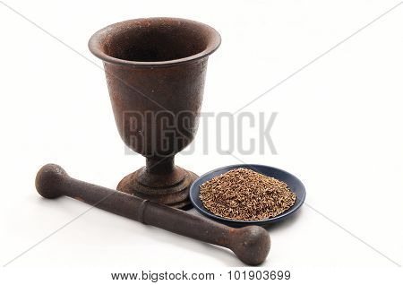 Vintage Pestle With Flax Seeds