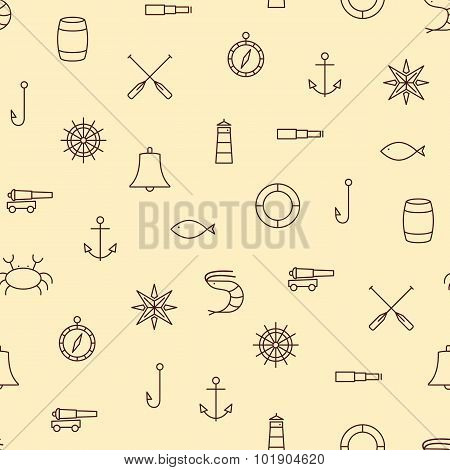 Ship & Sea Line Icons Seamless Pattern On Beige Background