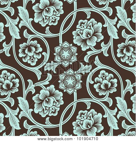 Asian Ornamental Colored Antique Floral Pattern.