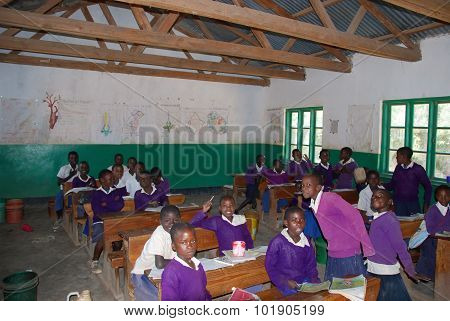 The Students Of Middle School Of The Village Pomerini In Tanzania, Africa 55