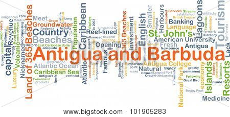 Background concept wordcloud illustration of Antigua and Barbuda