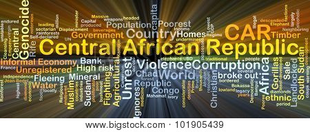 Background concept wordcloud illustration of Central African Republic CAR glowing light