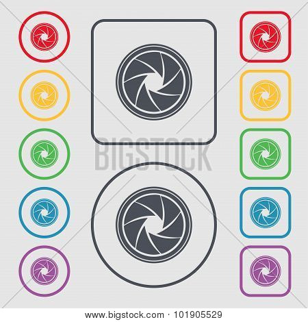 Diaphragm Icon. Aperture Sign. Symbols On The Round And Square Buttons With Frame. Vector
