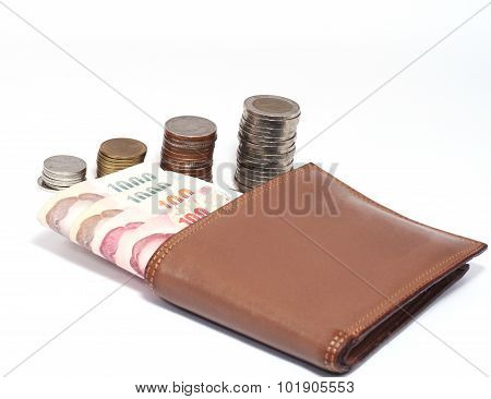 Wallet With Bank Notes And Coins Baht Set A Pile Of White Background.