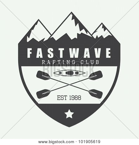 Vintage Rafting Logo, Label Or Badge.