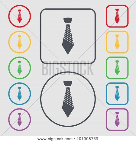 Tie Sign Icon. Business Clothes Symbol. Symbols On The Round And Square Buttons With Frame. Vector