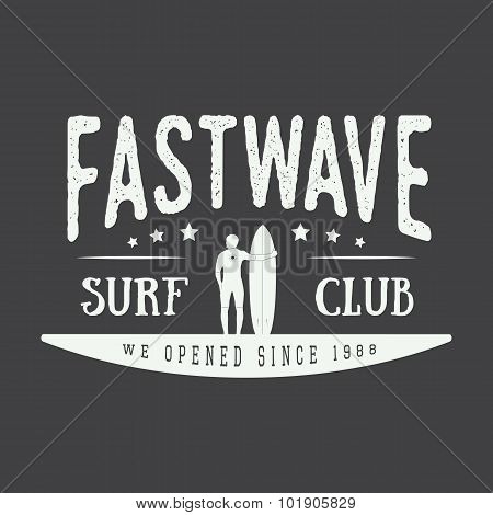 Surfing Vector Logo, Label Or Badge.