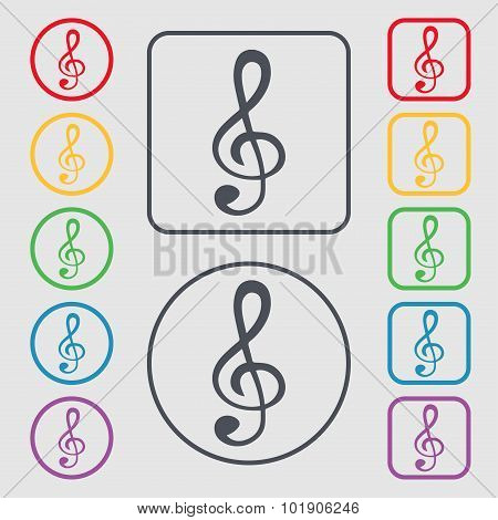 Treble Clef Icon. Symbols On The Round And Square Buttons With Frame. Vector
