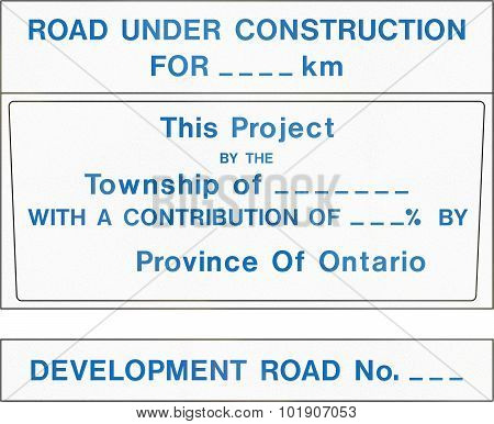 Development Road Project Contract Identification Sign In Canada