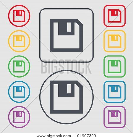 Floppy Icon. Flat Modern Design. Symbols On The Round And Square Buttons With Frame. Vector