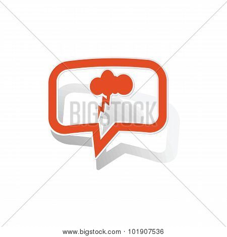 Thunderstorm message sticker, orange