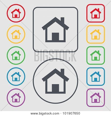 Home Sign Icon. Main Page Button. Navigation Symbol. Symbols On The Round And Square Buttons With Fr