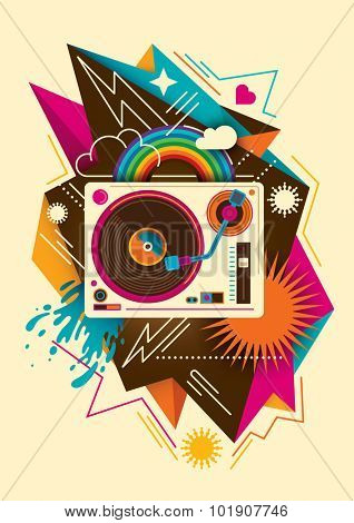 Colorful abstraction with turntable. Vector illustration.