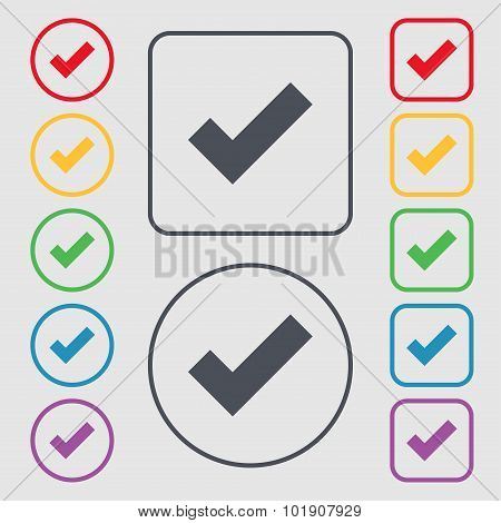 Check Mark Sign Icon . Confirm Approved Symbol. Symbols On The Round And Square Buttons With Frame.