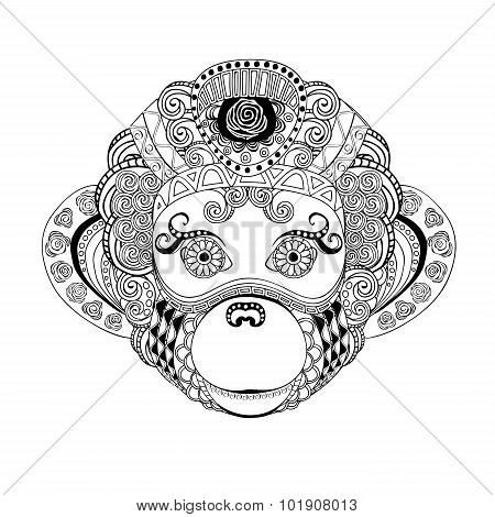 Stock Vector Monkey Head Doodle Silhouette