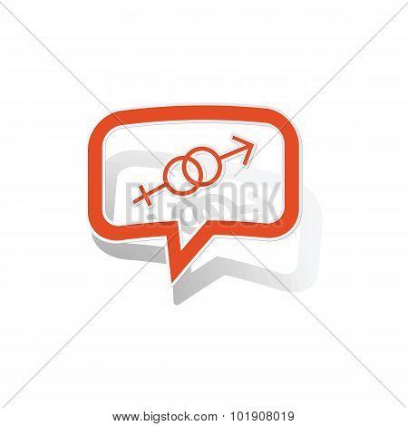 Gender message sticker, orange