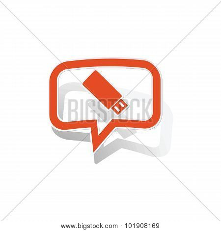 USB stick message sticker, orange