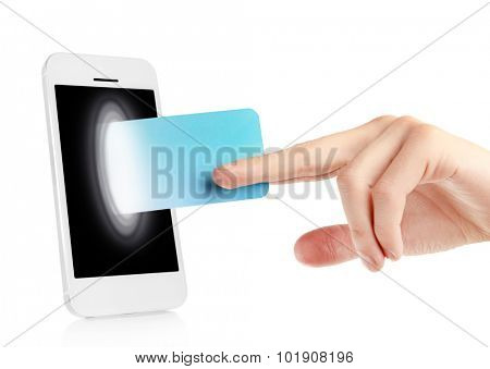 Mobile phone with credit card in hand isolated on white