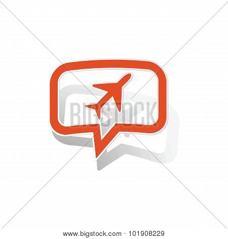 Plane message sticker, orange