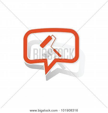 Paint roller message sticker, orange