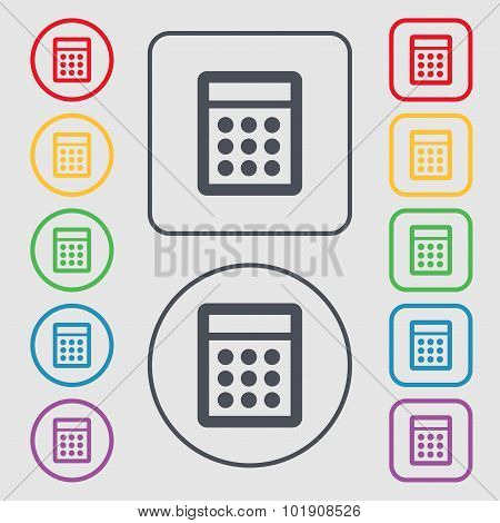 Calculator Sign Icon. Bookkeeping Symbol. Symbols On The Round And Square Buttons With Frame. Vector