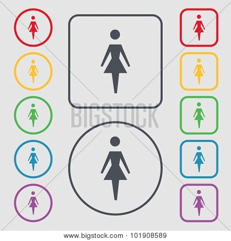 Female Sign Icon. Woman Human Symbol. Women Toilet. Symbols On The Round And Square Buttons With Fra