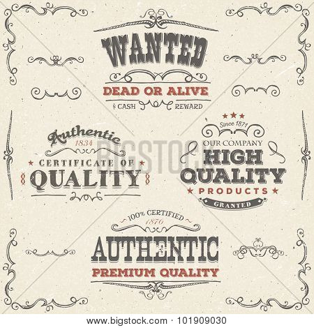 Hand Drawn Vintage Quality Banners And Labels