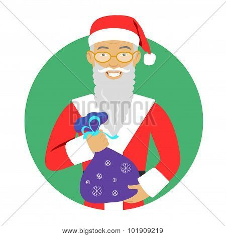 Senior man holding sack with gifts