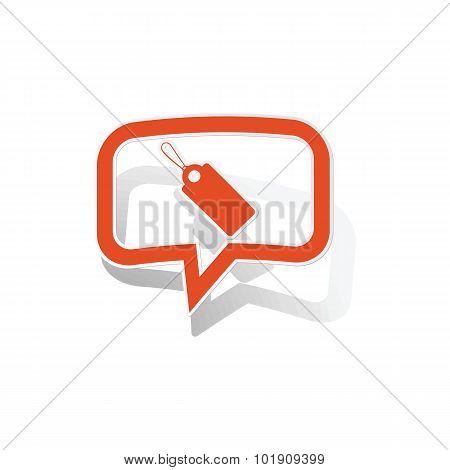 String tag message sticker, orange