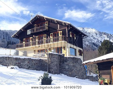 Nice decorated alpine style Hotel in French Alps, France