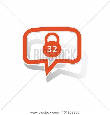 Kettlebell message sticker, orange