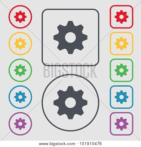 Cog Settings Sign Icon. Cogwheel Gear Mechanism Symbol. Symbols On The Round And Square Buttons With