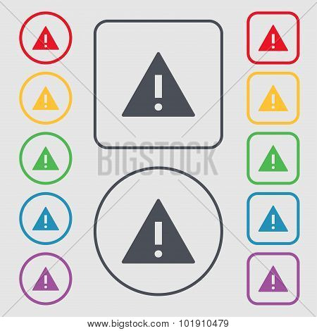 Attention Sign Icon. Exclamation Mark. Hazard Warning Symbol. Symbols On The Round And Square Button