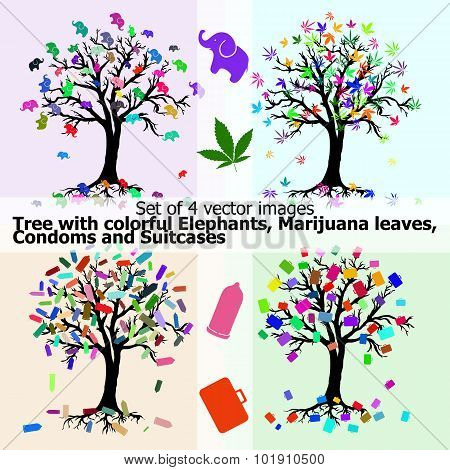 Tree With Colorful Elephants, Marijuana Leaves, Condoms And Suitcases In Abstract Style